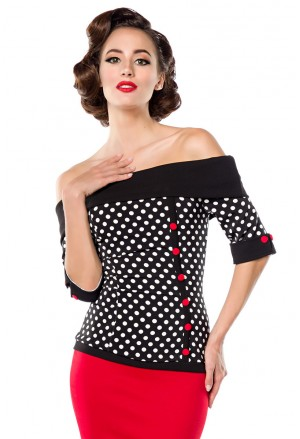 Retro off shoulder dots blouse Belsira