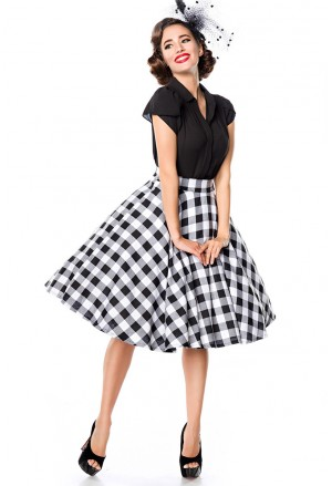 Rockabilly tartan Grease wide skirt Belsira