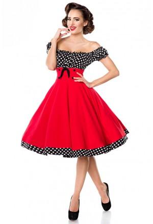 Pôsobivé červené retro šaty a lá 50. roky