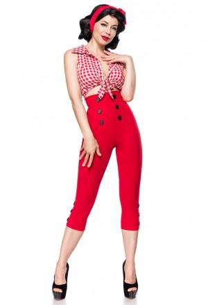 Elegantné červené retro capri nohavice s vysokým pásom
