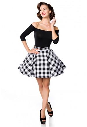 Krátka kockovaná retro sukňa Belsira