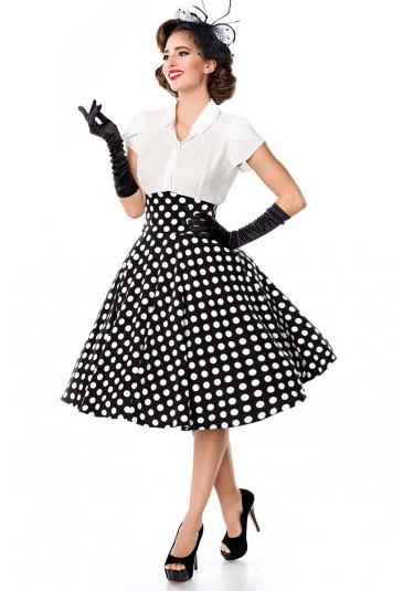 Elegantná čiernobiela bodkovaná retro sukňa Belsira