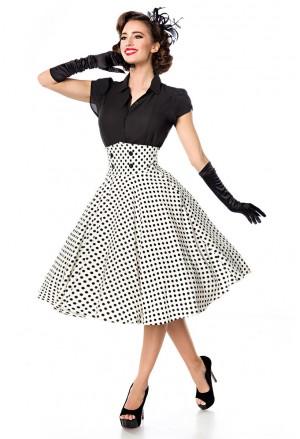 Elegantná bieločierna bodkovaná retro sukňa Belsira