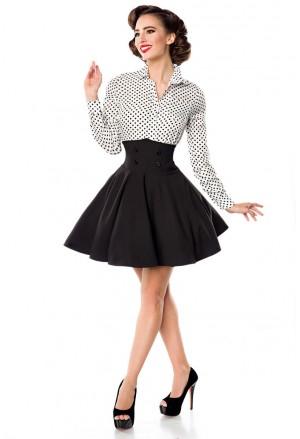 Krátka čierna swingová sukňa s vysokým pásom