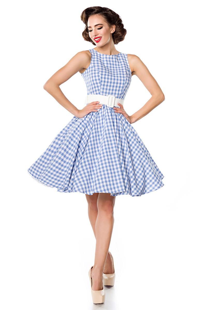 a68031c8cc60 Kárované retro šaty s opaskom Belsira - SELECTAFASHION.COM