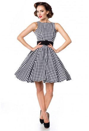 Sleevless gingham retro dressa