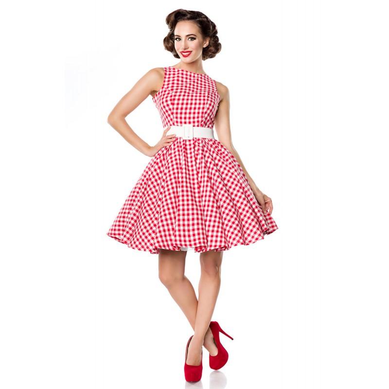 e860bbf3c2ff Kárované retro šaty s opaskom Belsira - SELECTAFASHION.COM