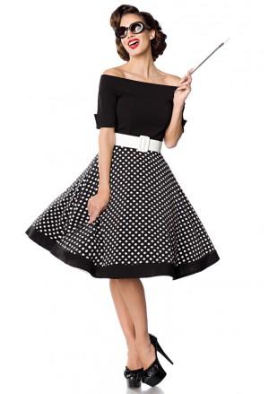 Rockabilly šaty s bodkovanou sukňou Belsira