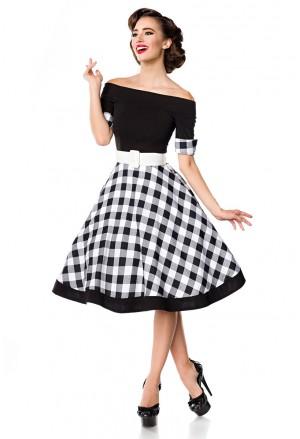 Rockabilly šaty s kockovanou sukňou Belsira