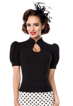 Elegantná dámska čierna blúzka s krátkym rukávom