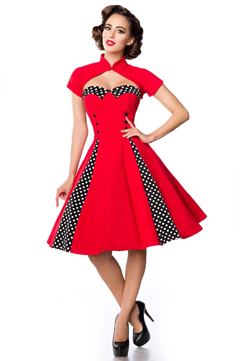 fe5db85270 Jedinečné swingové retro šaty s bolerkom - SELECTAFASHION.COM