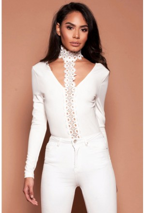Lace choker neck deep plunge bodysuit white