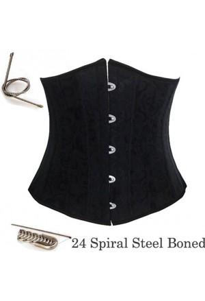 24 Spiral Steel Boned Brocade Corset