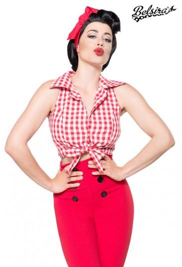 Short checkered retro bluse