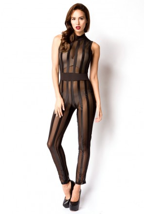 Black transparent seductive jumpsuit