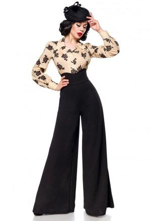 Široké čierne Marlene nohavice s vysokým pásom
