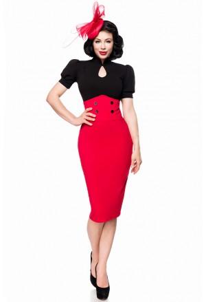 Úzka červená pencil retro sukňa s vysokým pásom