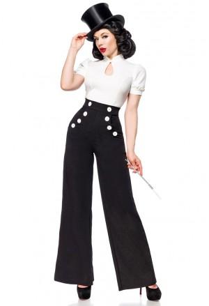 Široké čierne nohavice inšpirované Marlene Dietrich