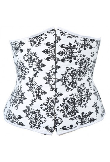Black and white floral underbust corset