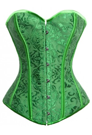 Fashion green Satin Jacquard Weave Lace Up Corset