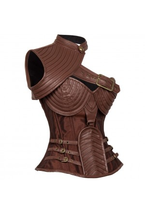 Exklusive brown steampunk corset Leather Spiral