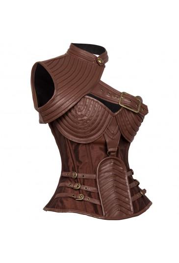 Exkluzívny hnedý steampunkový korzet Leather Spiral