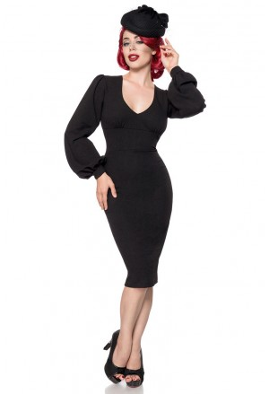 Elegant black retro dress with long sleeves