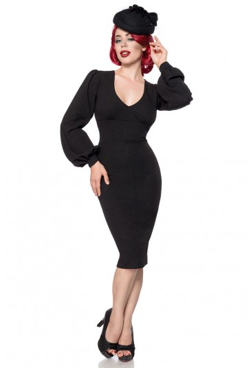 Elegant black retro dress with long sleeves