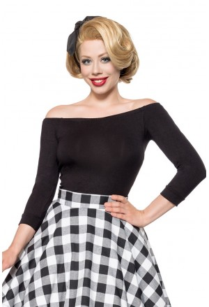Black off shoulder retro top plus size