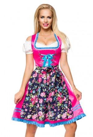 Modern colorful dirndl dress with floral apron
