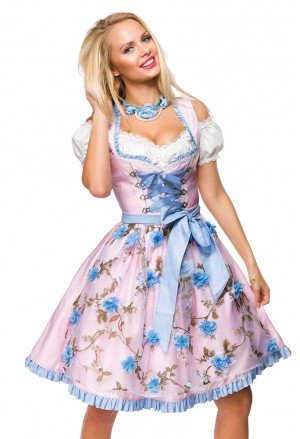 Luxury brocade floral dirndl folk dress costume