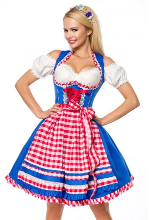 Checkered dirndl folk bavarian dress