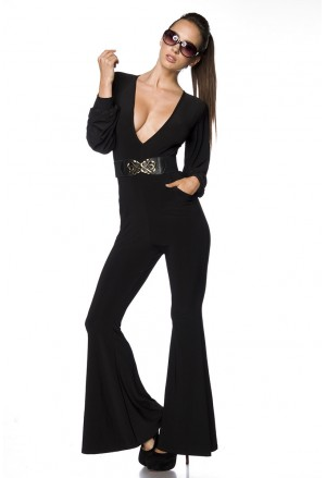 Elegant black long sleeved jumpsuit overall