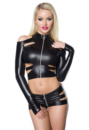 Exciting black PU wetlook gogo dance wear set