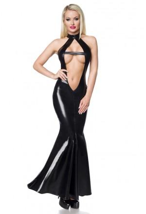 Extravagantné čierne wetlook šaty na zvádzanie