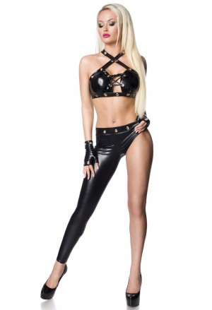 Bold black PU wetloo gogo dancwear set