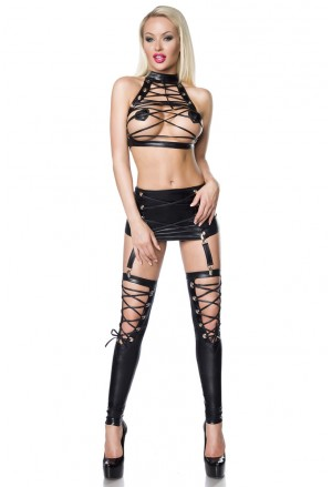 Two-piece lacing gogo dance wear wetlook set
