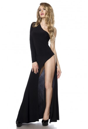 Extravagantné dlhé čierne šaty s veľkým rozparkom