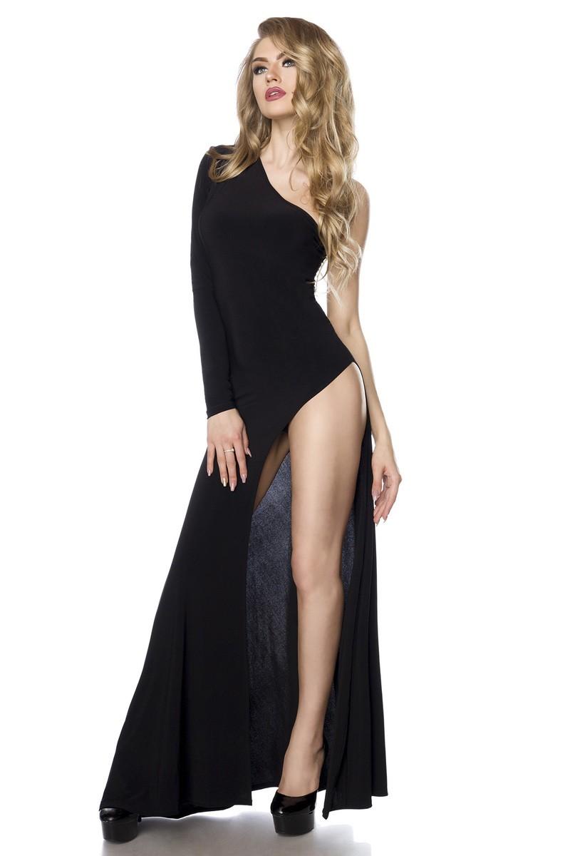 Extravagantné dlhé čierne šaty s veľkým rozparkom - SELECTAFASHION.COM 964cad50d12
