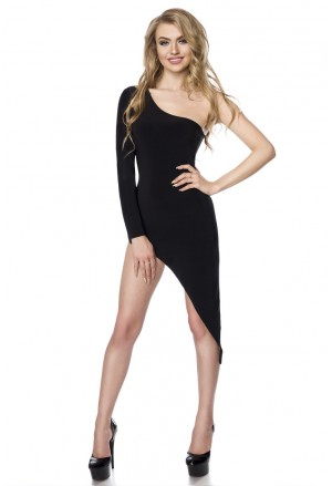 Asymetrické gogo čierne šaty s rozparkom