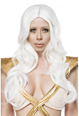 Space white hair long wig
