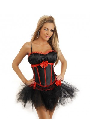Burlesque corset tutu dress - black and red