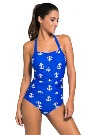 Playful anchor one-piece vintage swimwear