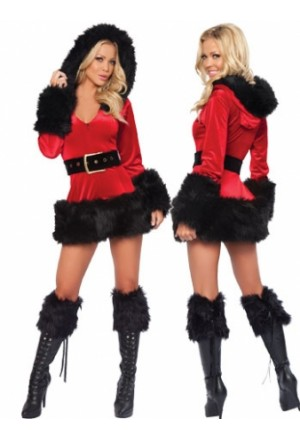 Piece Hooded Fur Trim Velvet Santa Costume