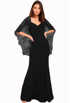 V Cut Open Back Lace Cape Sleeve Maxi Evening Dress