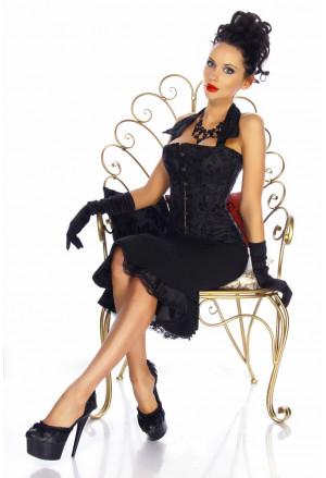 Elegant floral halter black corset