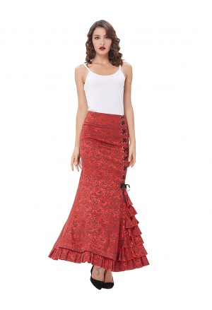 Victorian gothic red jacquard ruffle fishtail skirt
