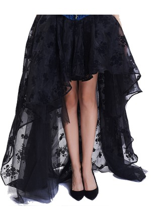Victorian Gothic Black Elastic High-low Organza Skirt