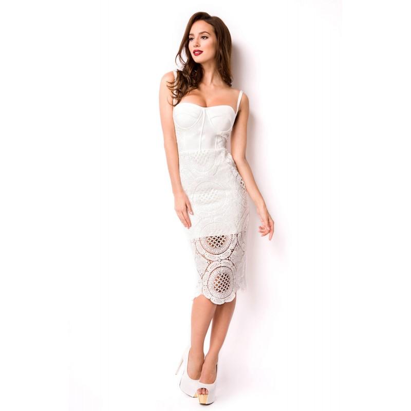 3143c1a001f4 Biele bandážové dizajnérske šaty - SELECTAFASHION.COM