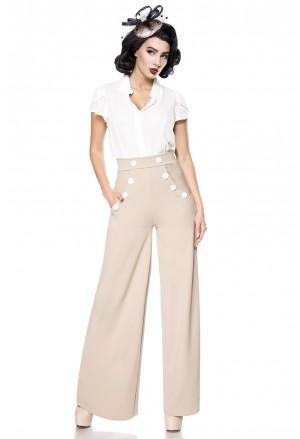 Široké krémové nohavice inšpirované Marlene Dietrich